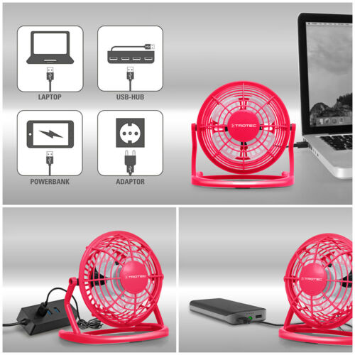 TROTEC USB Ventilator Tischventilator Mini FanNotebook Laptop Computer Pink