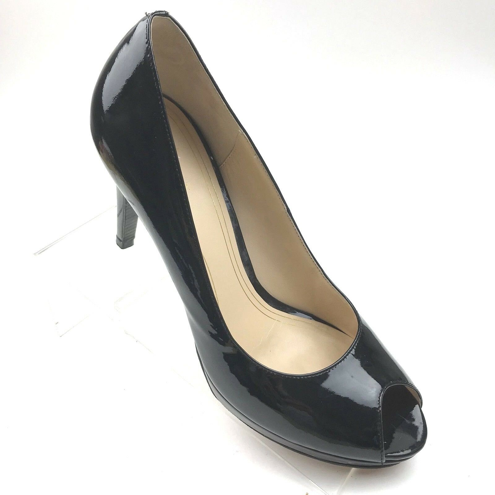 Cole Haan Women's Size 9.5 B Black Platform Peep Toe Patent Leather 4  Heels 203