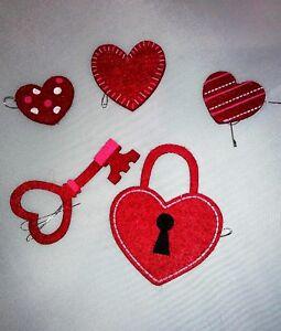 longaberger basket red hearts felt tie on set heart lock key love