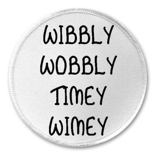 """Wibbly Wobbly Timey Wimey 3/"""" Sew Iron On Patch Dr Who Tardis Gift Present"""