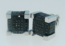 ICE CUBE BLOCK BLACK DIAMOND STUD EARRINGS 9 M GND60331
