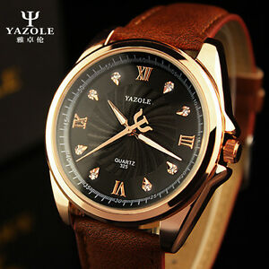 yazol quartz watch men women top brand leather brand watches image is loading yazol quartz watch men women top brand leather
