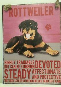 ROTTWEILER DOG  BREED METAL SIGN~ MEDIUM  ~ NEW