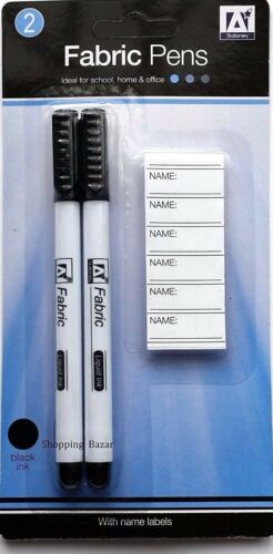 BLACK INK 2 PERMANENT FABRIC PENS school New FABRIC PENS WITH NAME LABELS
