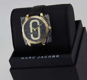 NEW-AUTHENTIC-MARC-JACOBS-CORIE-GOLD-BLACK-LEATHER-LADIES-WOMEN-039-S-MJ1578-WATCH
