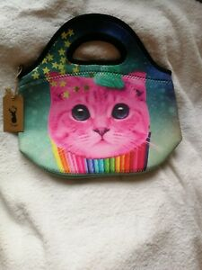 TYPO-NEOPRENE-LUNCH-BAG-COLOURFUL-CUP-CAKE-CAT-BNWT-PURRRRFECT-FOR-LUNCH-TIME