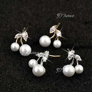 18K-YELLOW-WHITE-GOLD-MADE-WITH-SWAROVSKI-CRYSTAL-PEARL-CHERRY-EARRINGS-CUTE