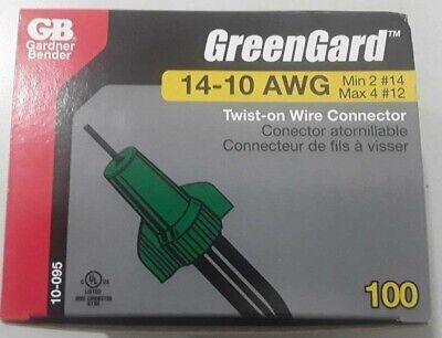 100 Pack Gardner Bender 10-095 GreenGard Grounding Connector Green, 14-10 AWG