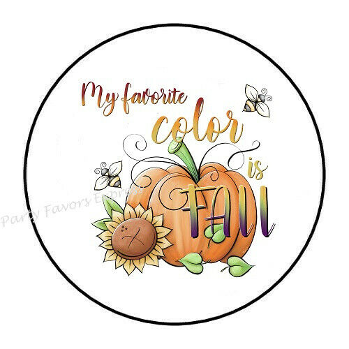 30 MY FAVORITE COLOR IS FALL ENVELOPE SEALS LABELS PARTY FAVORS STICKERS 1.5/""