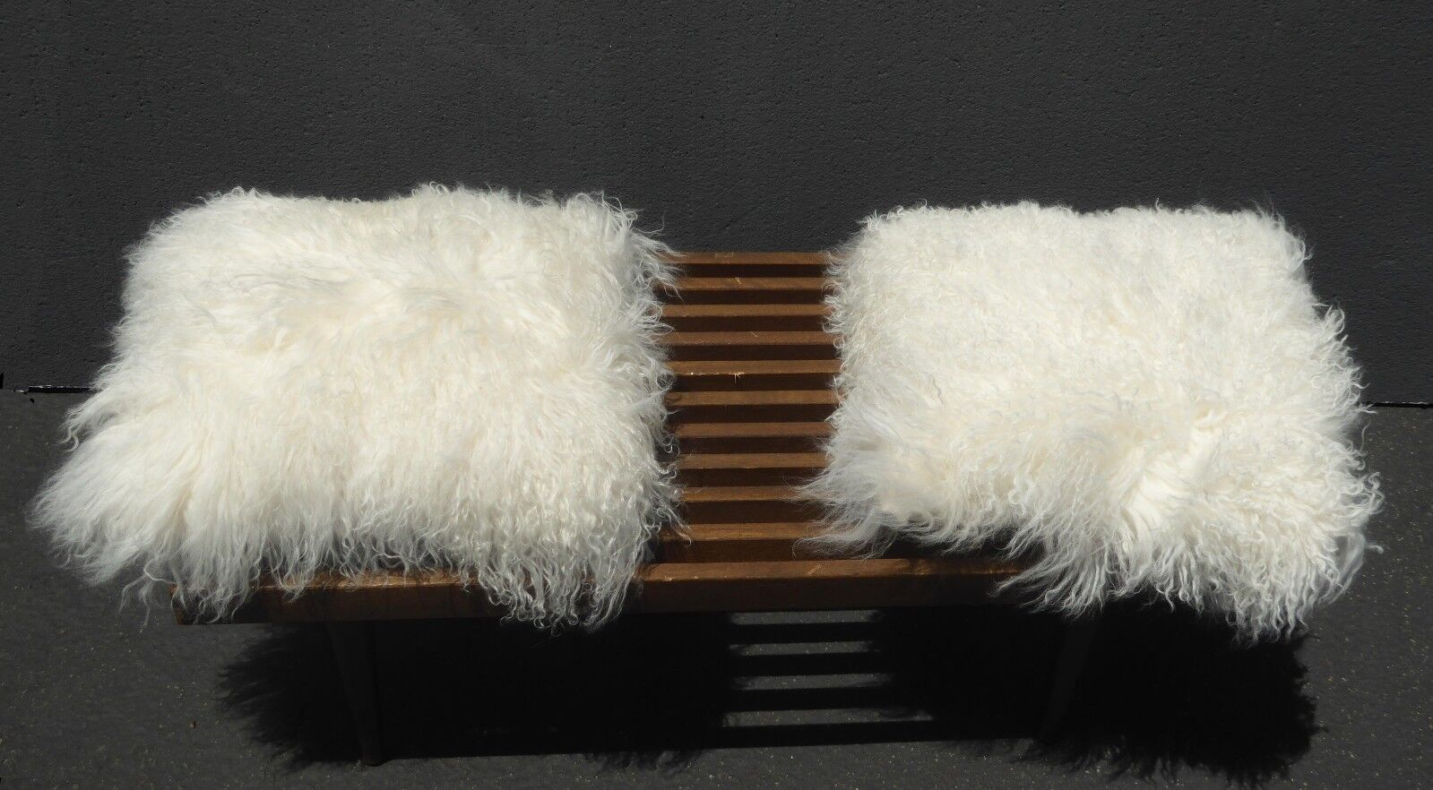 Two Faux Fur Mongolian White Throw Pillows