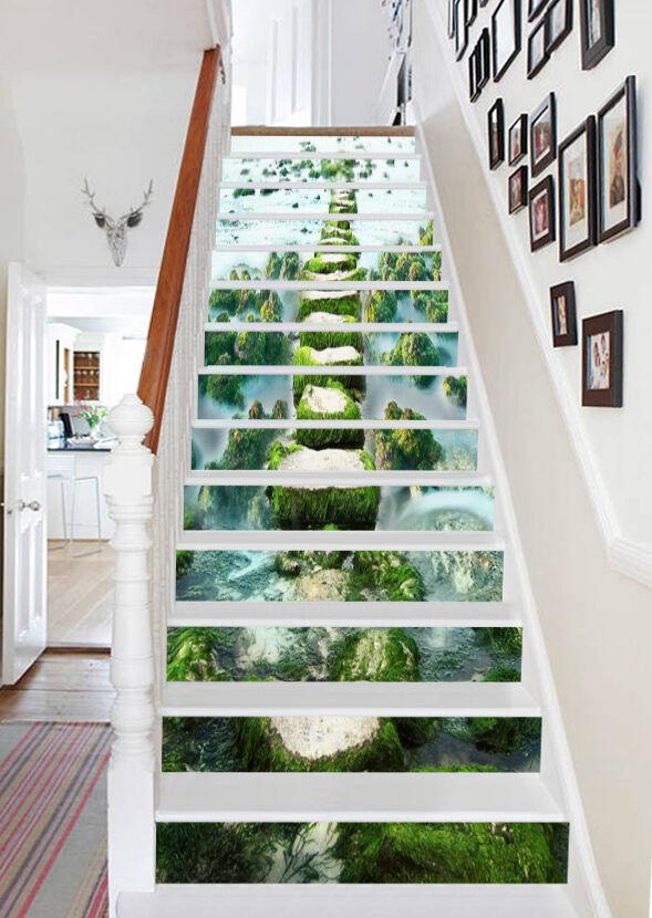 3D vert stones 58 Stair Risers Decoration Photo Mural Vinyl Decal Wallpaper AU