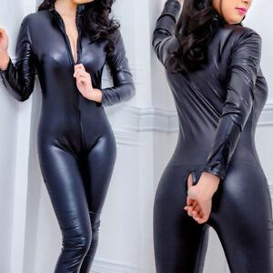 Sexy-Femme-Sissy-Lingerie-Combinaison-Cuir-PU-Deguisement-Vetement-Babydoll-Mode
