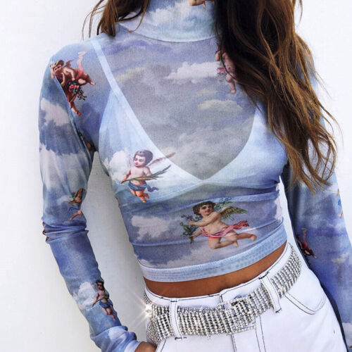 Women Sheer Mesh Long Sleeve Crew Neck Blouse See-through Crop Angel Tops Shirt