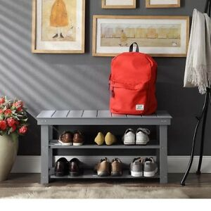 Image Is Loading Wood Mudroom Bench Utility Shoe Storage Grey Entry