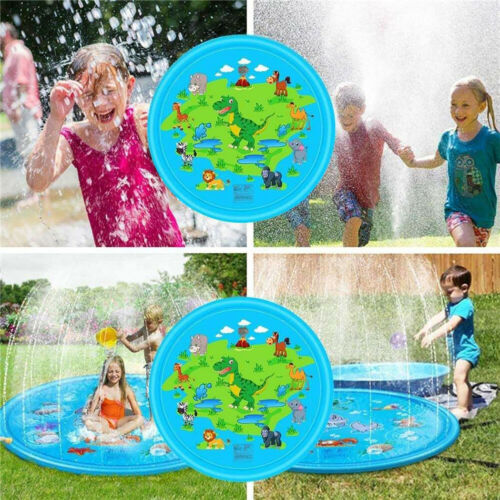 40//67in Inflatable Sprinkler Play Water Mat Dolphin Splash Pad Kids Outdoor Toy