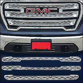 Chrome-Grille-Overlay-Trim-FITS-2019-2020-GMC-Sierra-1500-SLT-AT4-ONLY