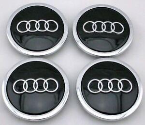 4x-69mm-Audi-Nabendeckel-Felgendeckel-Nabenkappen-A1-A2-A3-A4-A5-A6-A7-SCHWARZ