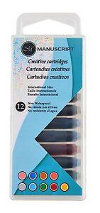 12-MANUSCRIPT-CREATIVE-INK-CARTRIDGES-ASSORTED-COLOURS-FOR-FOUNTAIN-PEN-0462ASC