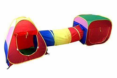 Foldable Easy to Set Up Cubby-Tube-Teepee Kids Pop-up 3pc Tent & Tunnel Station