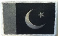 Pakistan Flag Iron-on Patch Pakistani Black & Gray Version 07