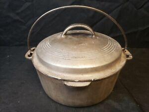 Vtg-Wagner-Ware-Sidney-O-Cast-Iron-Bean-Pot-Dutch-Oven-amp-Lid-1268-Nickel-Plate