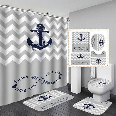 Nautical Anchor Bath Mat Toilet Cover Rugs Shower Curtain Bathroom Decor Ebay