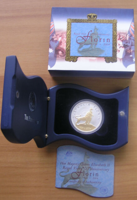 2004 Perth Mint 'ROYAL VISIT 50TH ANNIVERSARY FLORIN' 1oz Silver Proof Coin