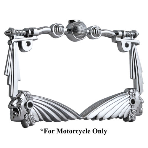 3D HANDLE BAR INDIAN CHIEF CHROME MOTORCYCLE LICENSE PLATE FRAME FOR BMW ZERO