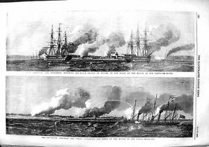 Old-Antique-Print-1855-Exmouth-Blenheim-War-Ships-Fort-Narva-Pincher-Snap-19th