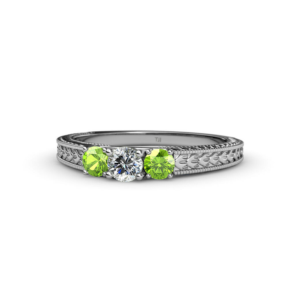 Diamond and Peridot Three Stone Ring with Milgrain Work 0.55 ct tw in 14K gold