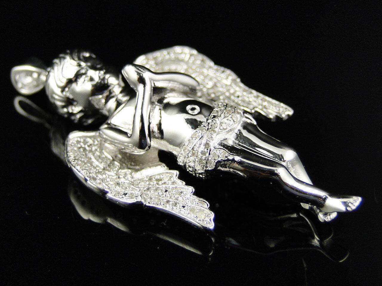 Vero Vero Vero Finitura in oro Bianco Mini Angelo Gesù Vero Pendente con Diamante .50 Ct 5c3407