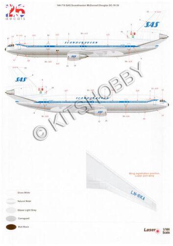 Laser Decal SAS Scandinavian Airlines 26Decals 1//144 McDonnell Douglas DC-10