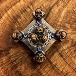Steel Flame 3 D Copper Pile Of Skulls Ring Spin Killbox Ebay