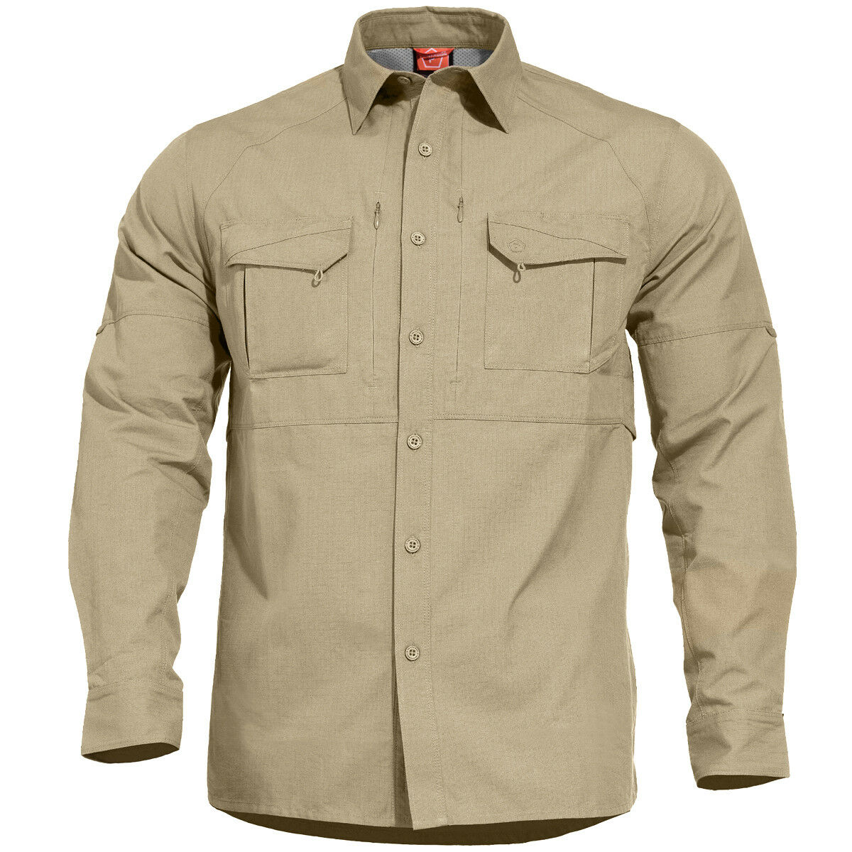 Pentagon Chase Tactical Shirt Long Sleeve Hiking Ranger Outdoor Casual Khaki