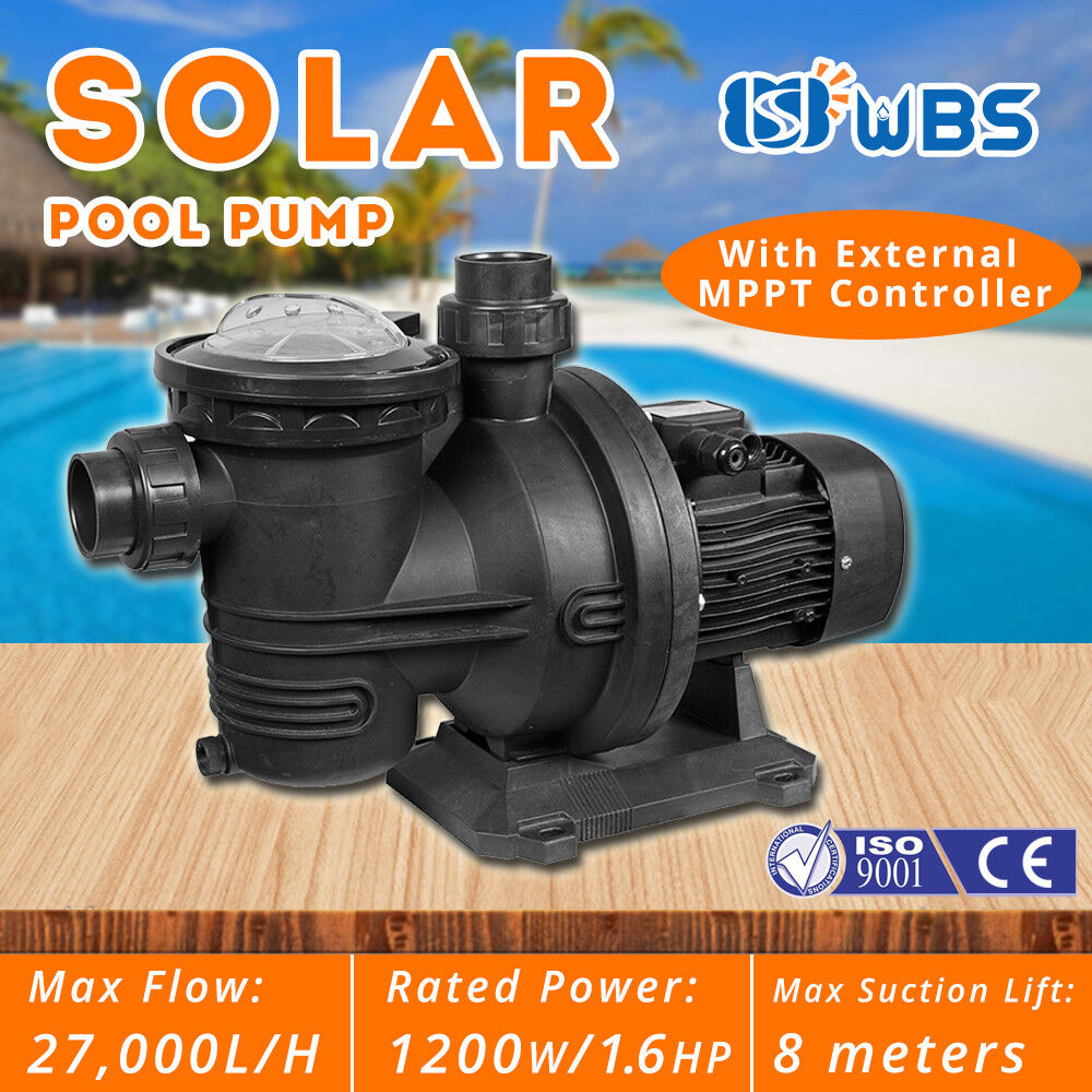 DC Solar Swimming Pool Water Pump Hot SPA Cleaner 1.5HP 27000L/H + Controller