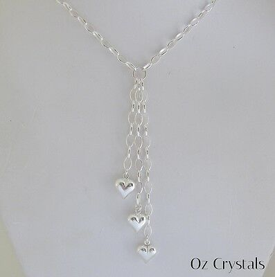 Solid 925 Sterling Silver Oval Belcher Link Chain Y Heart Dangle Necklace