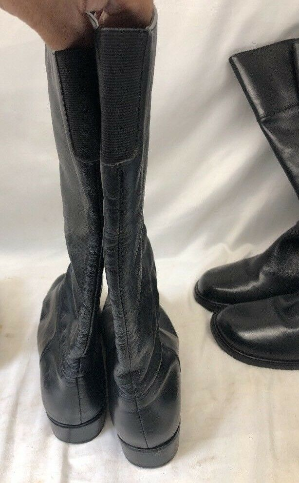 Lot Of 3 - - -    Womens Sz 7  -   Tall Boots  -  Black Leather & Suede -  21dc84