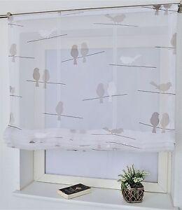 raffrollo landhaus birds weiss grau 80 100 120 140 170. Black Bedroom Furniture Sets. Home Design Ideas