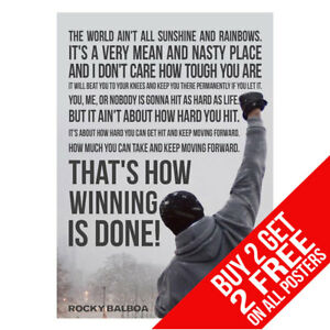 Details about ROCKY MOTIVATIONAL INSPIRATIONAL QUOTE BOXING GYM POSTER -BUY  2 GET ANY 2 FREE