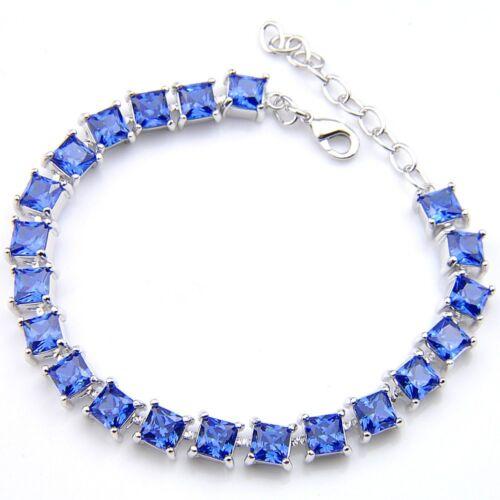 Fashion Women Jewelry Platinum Plated Gorgeous Sapphire Gems Charm Bracelets