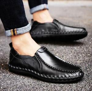 New-Men-039-s-Round-Toe-Leather-Causal-Large-Size-Shoes-Sneakers-Slip-On-Loafers