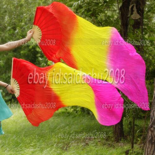 1.5m1.8m 100/% silk fan veils 1 pair (left+right)belly dance performance5-6ft