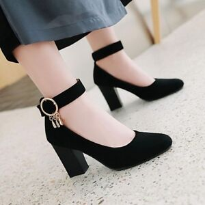 Womens-Buckle-Pointed-Toe-Pumps-Ankle-Strap-Block-High-Heels-Mary-Jane-Shoes