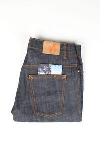 32202 Nudie Jeans Thin Finn Dry Comfort Bleu Foncé Hommes Jean Taille 36/32