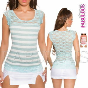 New-Women-039-s-Striped-Lace-Top-Shirt-Party-Summer-Casual-Size-6-8-10-XS-S-M