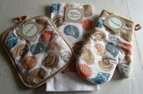 COASTAL Towel Potholder /& Ovenmitt Set  SEASHELLS