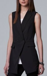 Nwt Women's Black M Vest breasted Wang Simply Double 400731505063 Vera Uq7EUr