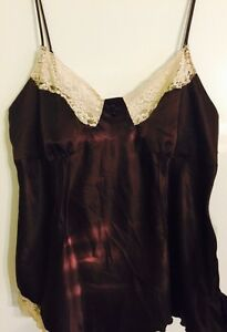 Mix-It-Chocolate-Brown-And-Cream-Lacy-Camisole-Top-XL