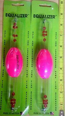 Cajun Thunder Equalizer Fishing Boat Fish Floats Corks Bobbers..Lot of 2...Pink