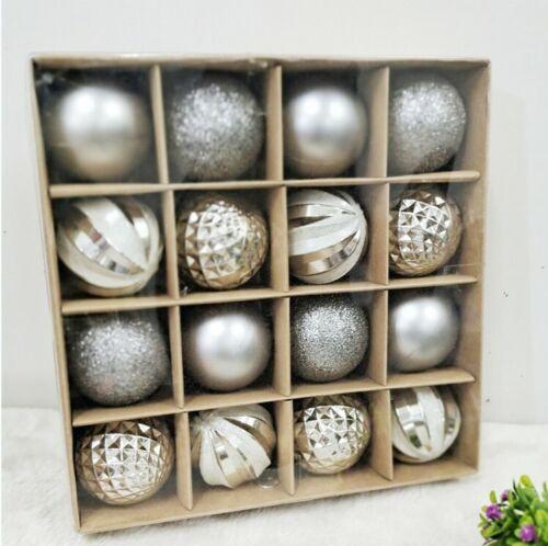 16X6CM Xmas Tree Balls Baubles Glitter Hanging Xmas Party Ornament Home Decor